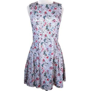 Gap Floral Fit & Flare Sleeveless Boat Neck Dress